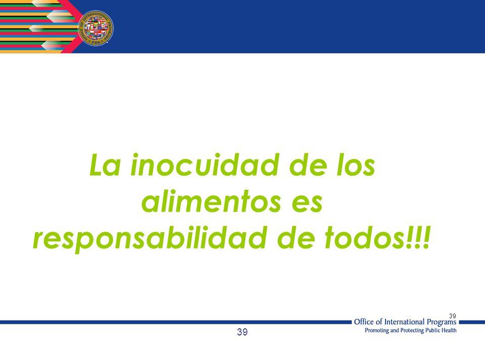 39 La inocuidad de los alimentos es responsabilidad de todos!!!
