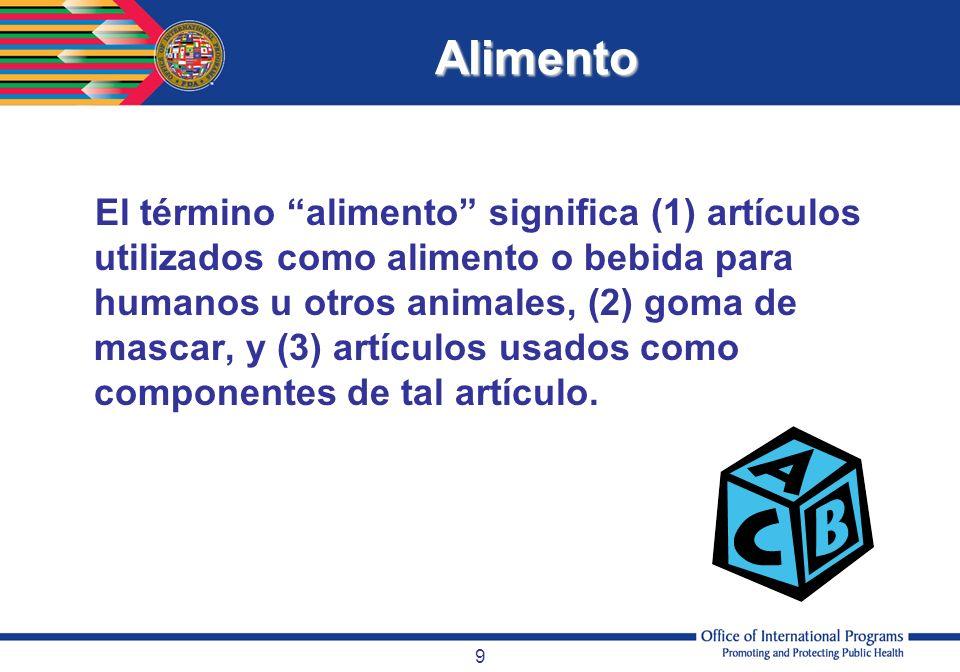 9 Alimento El término alimento significa (1) artículos utilizados como alimento o bebida para humanos u otros animales, (2) goma de mascar, y (3) artí