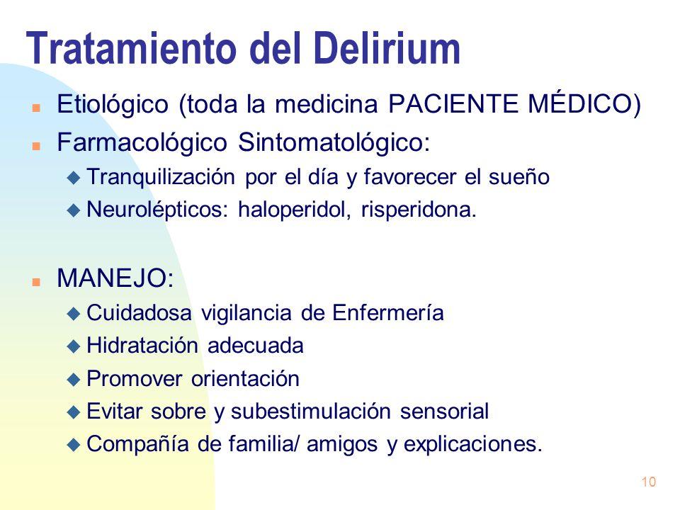 10 Tratamiento del Delirium n Etiológico (toda la medicina PACIENTE MÉDICO) n Farmacológico Sintomatológico: u Tranquilización por el día y favorecer