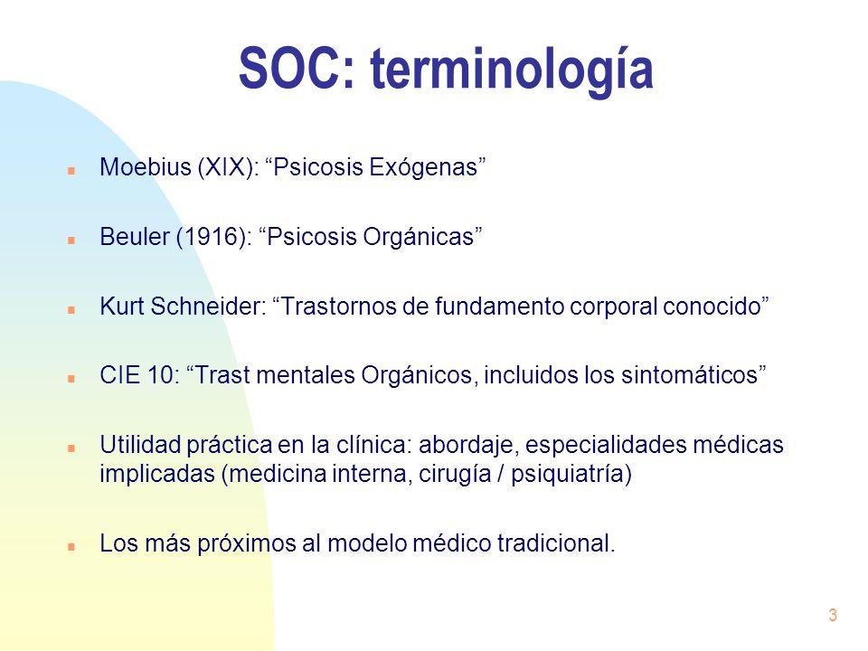 3 SOC: terminología n Moebius (XIX): Psicosis Exógenas n Beuler (1916): Psicosis Orgánicas n Kurt Schneider: Trastornos de fundamento corporal conocid