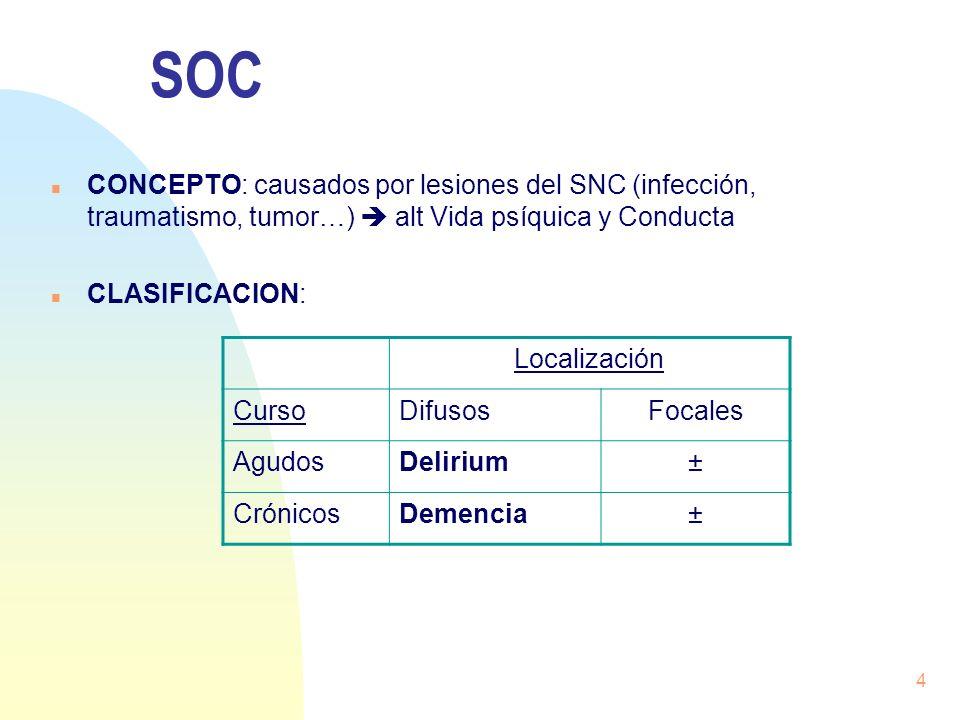 4 SOC n CONCEPTO: causados por lesiones del SNC (infección, traumatismo, tumor…) alt Vida psíquica y Conducta n CLASIFICACION: Localización CursoDifus