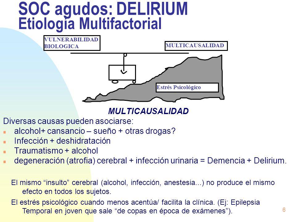 6 SOC agudos: DELIRIUM Etiología Multifactorial MULTICAUSALIDAD Diversas causas pueden asociarse: n alcohol+ cansancio – sueño + otras drogas? n Infec