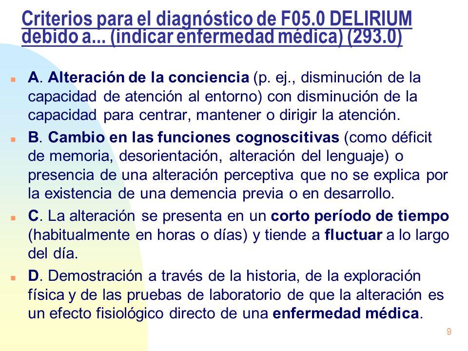 Criterios para el diagnóstico de F05.0 DELIRIUM debido a... (indicar enfermedad médica) (293.0) n A. Alteración de la conciencia (p. ej., disminución