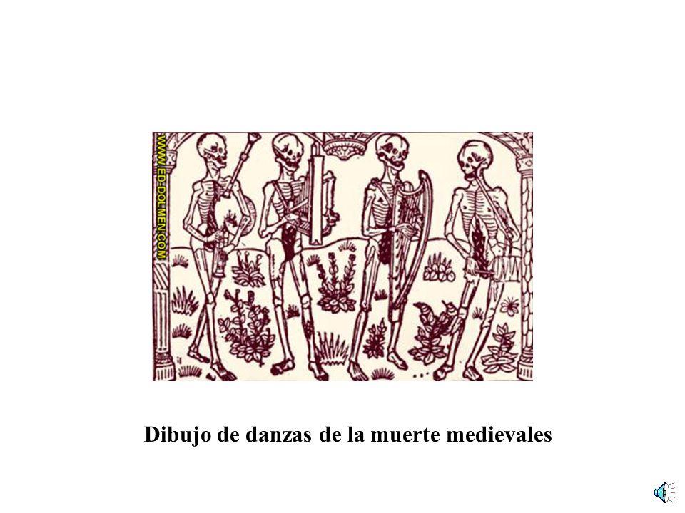 DANZAS DE LA MUERTE PESTE NEGRA S. XIV Hacia 1350 Definición: sucesión de imágenes y textos presididas por la Muerte como personaje central y que, en