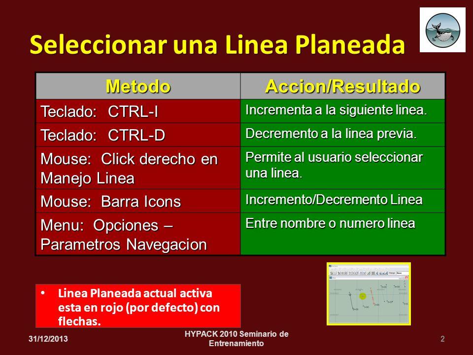 Linea Planeada actual activa esta en rojo (por defecto) con flechas. 31/12/20132 HYPACK 2010 Seminario de Entrenamiento Seleccionar una Linea Planeada