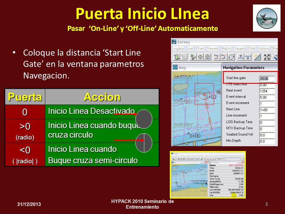 Coloque la distancia Start Line Gate en la ventana parametros Navegacion.