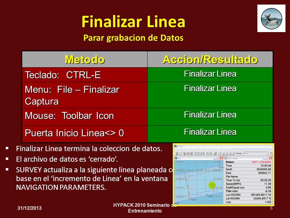 Finalizar Linea termina la coleccion de datos. El archivo de datos es cerrado. SURVEY actualiza a la siguiente linea planeada con base en el increment