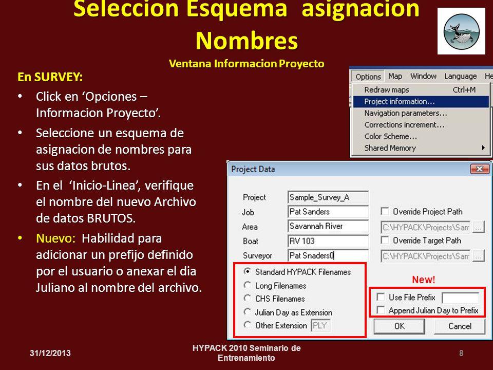 En SURVEY: Click en Opciones – Informacion Proyecto. Click en Opciones – Informacion Proyecto. Seleccione un esquema de asignacion de nombres para sus