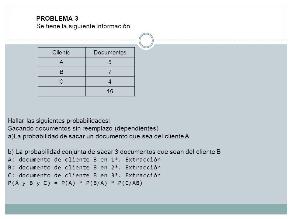 PROBLEMA 3 Se tiene la siguiente información ClienteDocumentos A5 B7 C4 16 Hallar las siguientes probabilidades: Sacando documentos sin reemplazo (dep