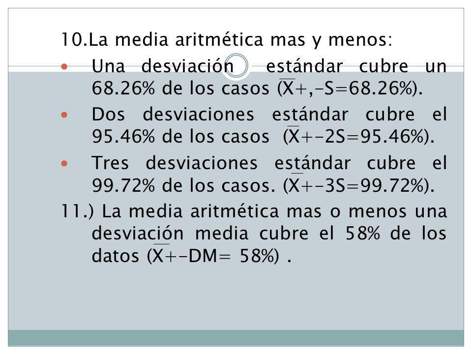 10.La media aritmética mas y menos: Una desviación estándar cubre un 68.26% de los casos (X+,-S=68.26%). Dos desviaciones estándar cubre el 95.46% de