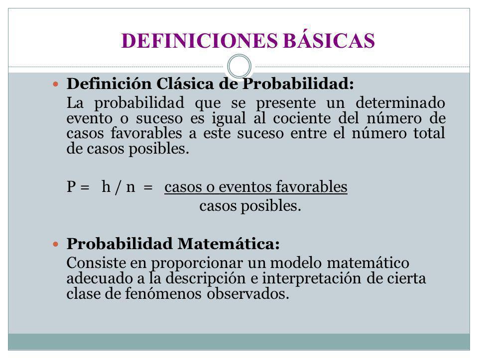 Definición Clásica de Probabilidad: La probabilidad que se presente un determinado evento o suceso es igual al cociente del número de casos favorables