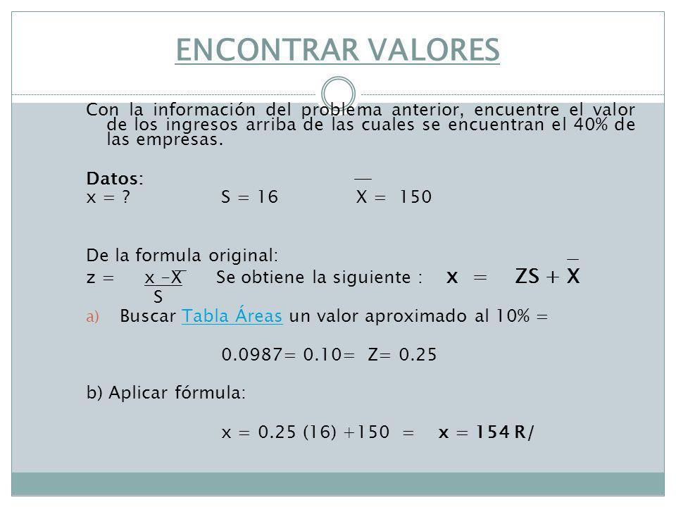 ENCONTRAR VALORES Con la información del problema anterior, encuentre el valor de los ingresos arriba de las cuales se encuentran el 40% de las empres