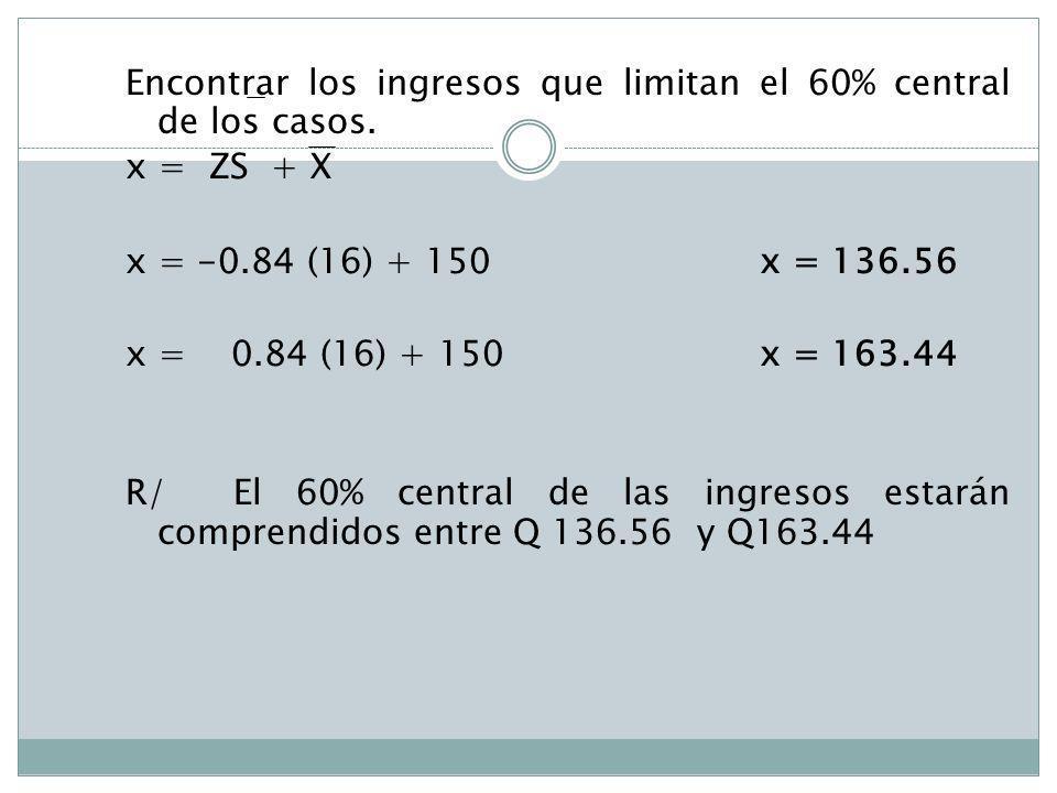 Encontrar los ingresos que limitan el 60% central de los casos. x = ZS + X x = -0.84 (16) + 150x = 136.56 x = 0.84 (16) + 150 x = 163.44 R/ El 60% cen