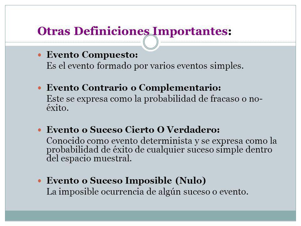 Otras Definiciones Importantes: Evento Compuesto: Es el evento formado por varios eventos simples. Evento Contrario o Complementario: Este se expresa