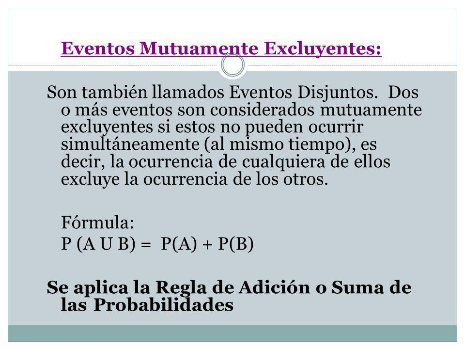 Eventos Mutuamente Excluyentes: Son también llamados Eventos Disjuntos. Dos o más eventos son considerados mutuamente excluyentes si estos no pueden o