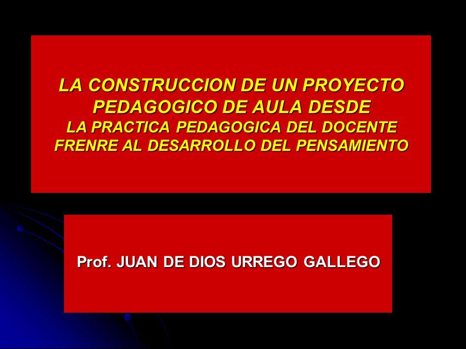 LA CONSTRUCCION DE UN PROYECTO PEDAGOGICO DE AULA DESDE LA PRACTICA PEDAGOGICA DEL DOCENTE FRENRE AL DESARROLLO DEL PENSAMIENTO Prof.