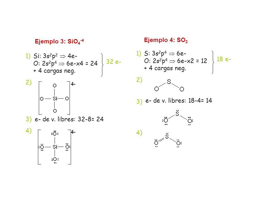 Ejemplo 3: SiO 4 -4 Si: 3s 2 p 2 4e- O: 2s 2 p 4 6e-x4 = 24 + 4 cargas neg. 32 e- 2) 1) 3)e- de v. libres: 32-8= 24 4) Ejemplo 4: SO 2 S: 3s 2 p 4 6e-