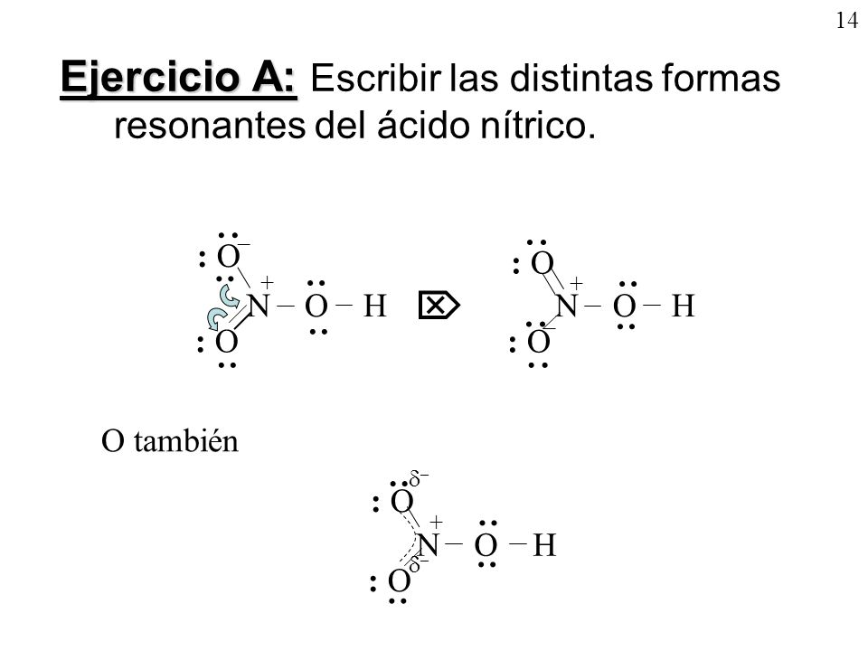 14 Ejercicio A: Ejercicio A: Escribir las distintas formas resonantes del ácido nítrico. + N O H : O · ·· · · ·· · – · ·· · · ·· · · ·· · N O H : O +