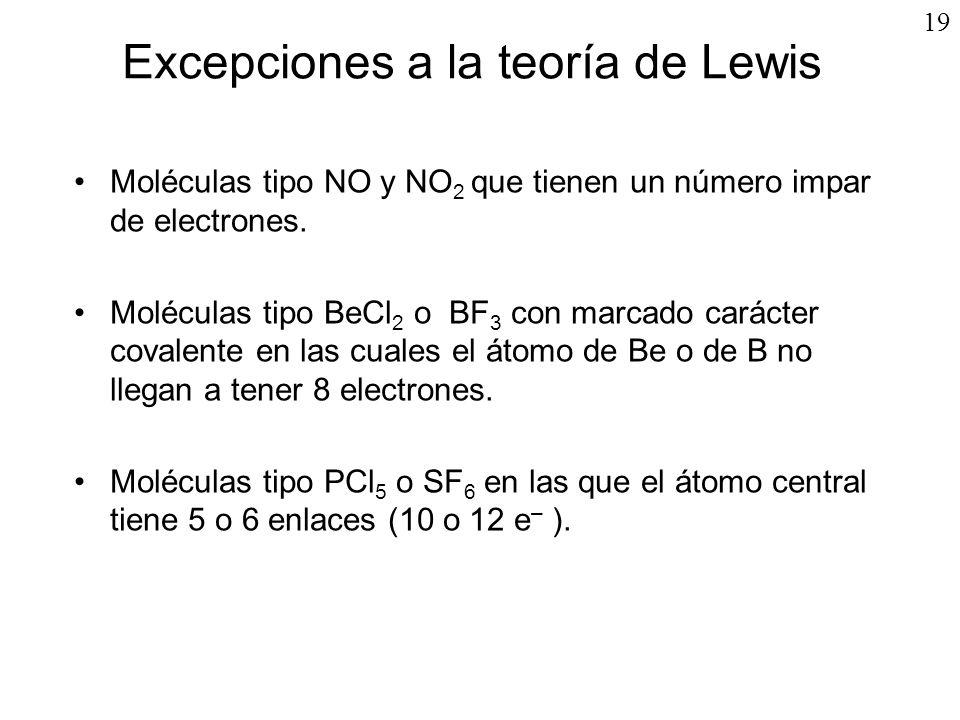 19 Excepciones a la teoría de Lewis Moléculas tipo NO y NO 2 que tienen un número impar de electrones. Moléculas tipo BeCl 2 o BF 3 con marcado caráct