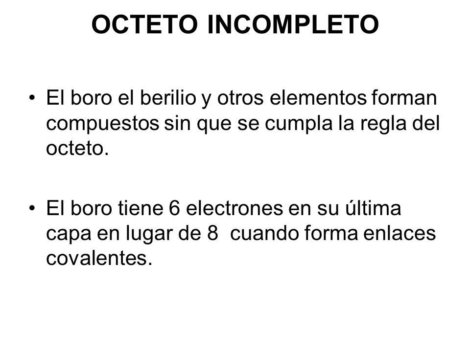 OCTETO INCOMPLETO El boro el berilio y otros elementos forman compuestos sin que se cumpla la regla del octeto. El boro tiene 6 electrones en su últim