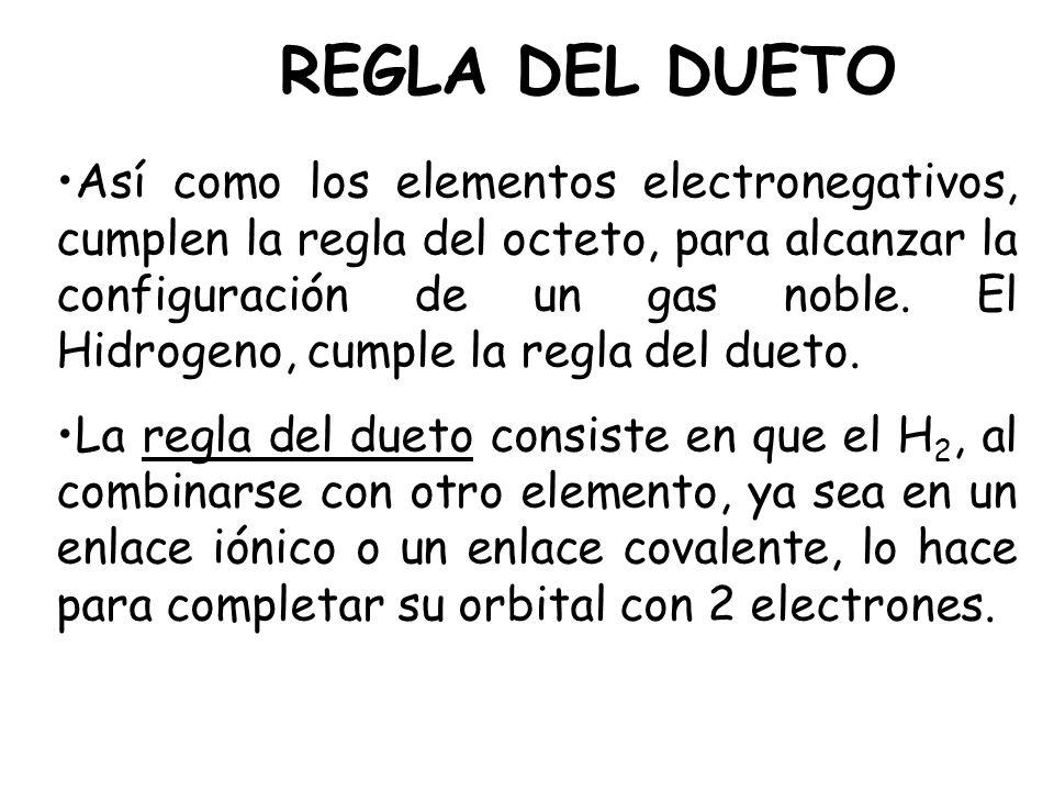 REGLA DEL DUETO Así como los elementos electronegativos, cumplen la regla del octeto, para alcanzar la configuración de un gas noble. El Hidrogeno, cu