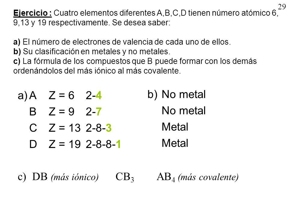 29 Ejercicio : Ejercicio : Cuatro elementos diferentes A,B,C,D tienen número atómico 6, 9,13 y 19 respectivamente. Se desea saber: a) El número de ele