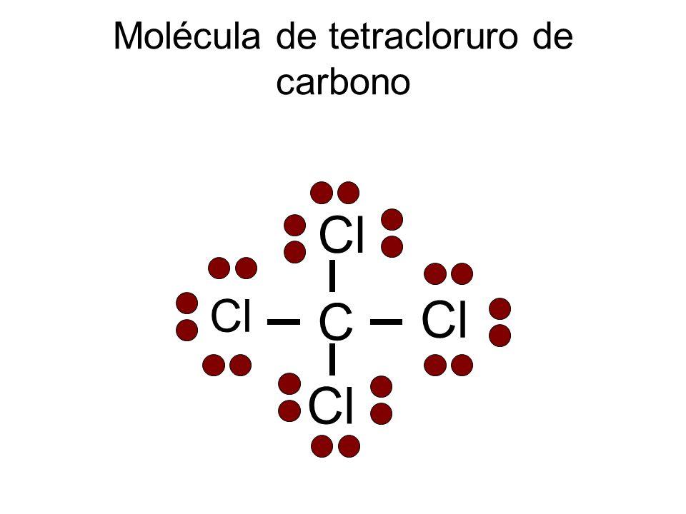 Molécula de tetracloruro de carbono C Cl
