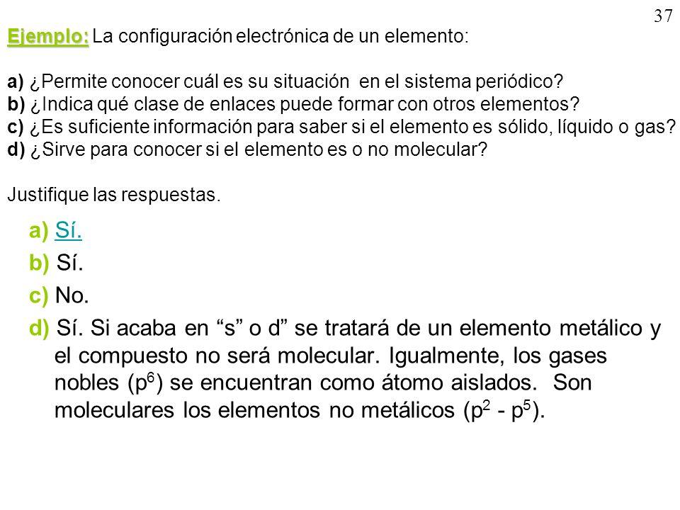 37 Ejemplo: Ejemplo: La configuración electrónica de un elemento: a) ¿Permite conocer cuál es su situación en el sistema periódico? b) ¿Indica qué cla