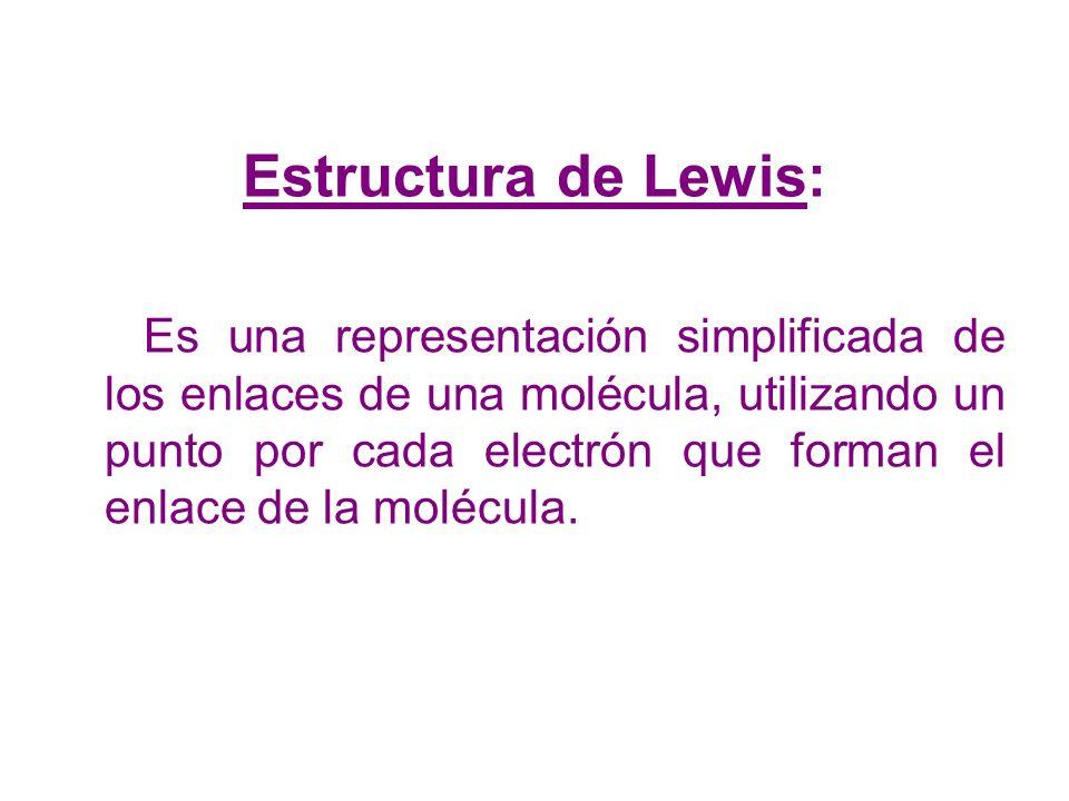 Estructura de Lewis: Es una representación simplificada de los enlaces de una molécula, utilizando un punto por cada electrón que forman el enlace de