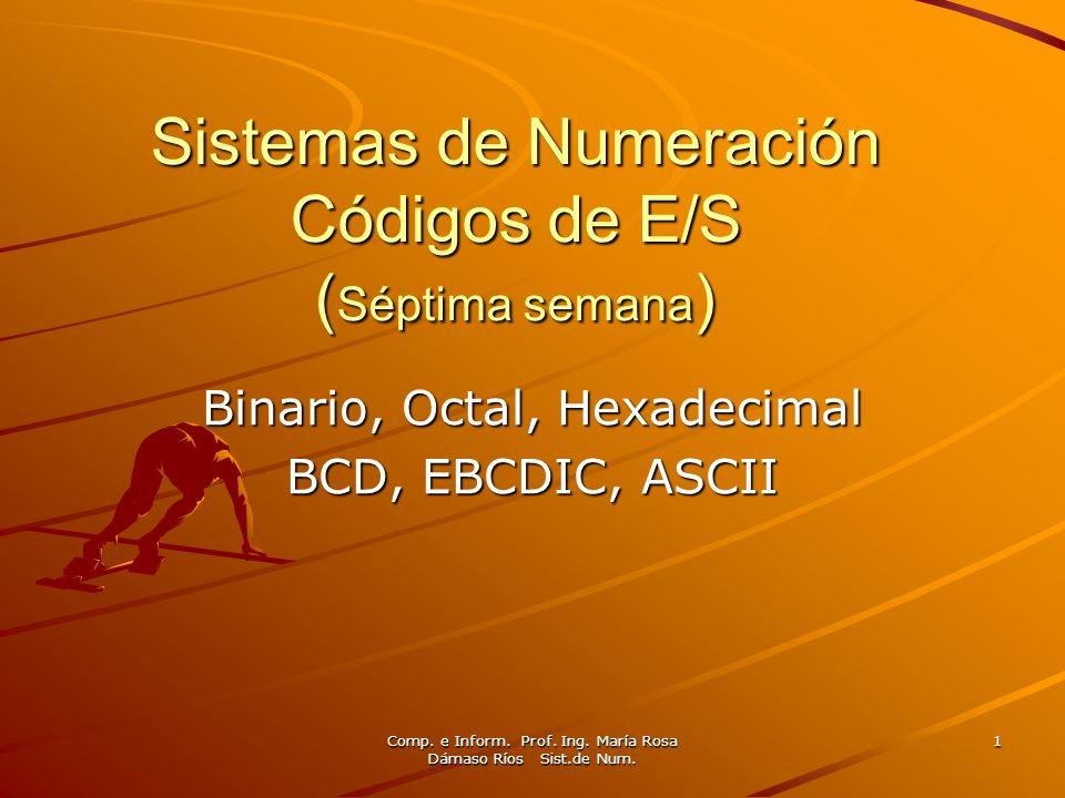 Comp. e Inform. Prof. Ing. María Rosa Dámaso Ríos Sist.de Num. 1 Sistemas de Numeración Códigos de E/S ( Séptima semana ) Binario, Octal, Hexadecimal