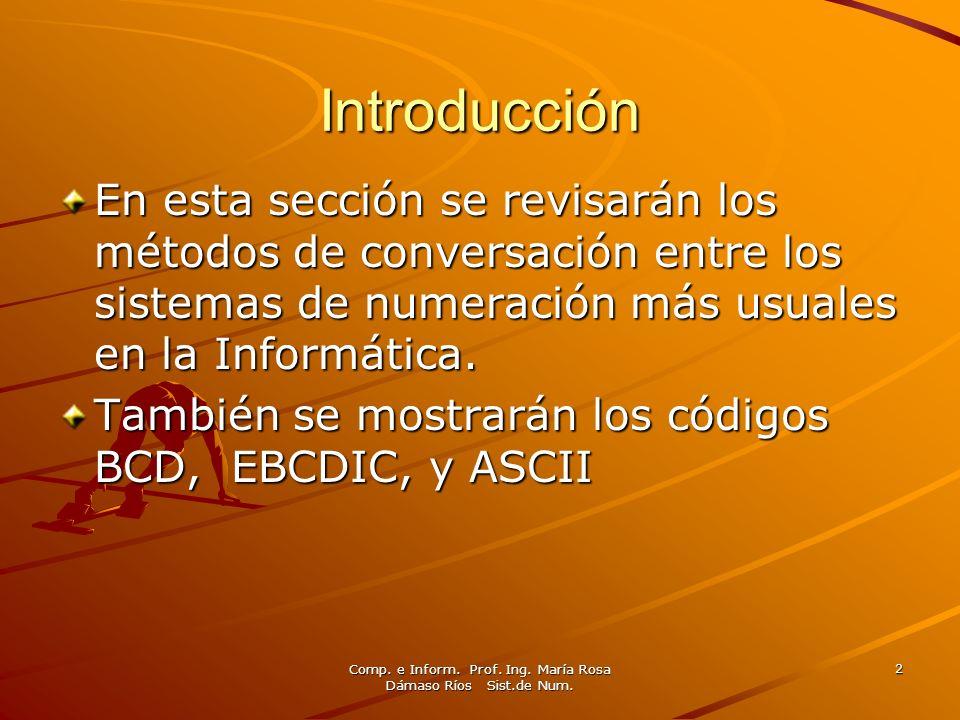 Comp. e Inform. Prof. Ing. María Rosa Dámaso Ríos Sist.de Num. 2 Introducción En esta sección se revisarán los métodos de conversación entre los siste