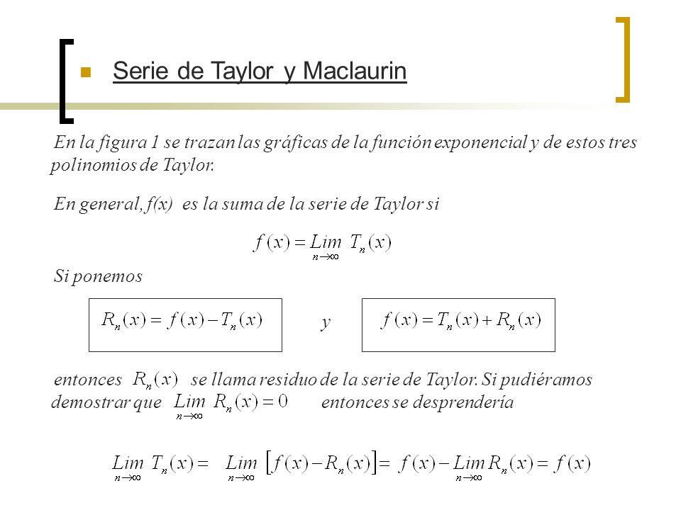 En la figura 1 se trazan las gráficas de la función exponencial y de estos tres polinomios de Taylor. En general, f(x) es la suma de la serie de Taylo