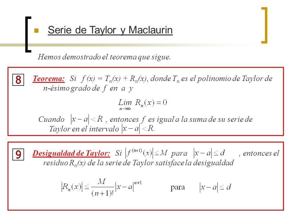 Serie de Taylor y Maclaurin Hemos demostrado el teorema que sigue. Cuando, entonces f es igual a la suma de su serie de Taylor en el intervalo Teorema