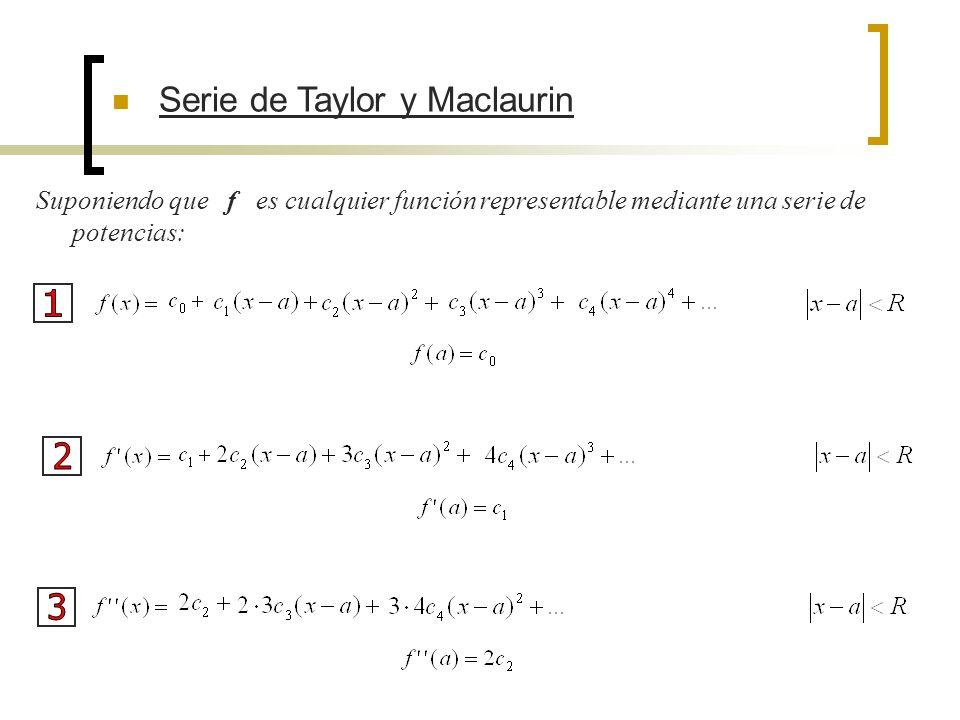 Serie de Taylor y Maclaurin Por un razonamiento semejante con, se obtiene Luego
