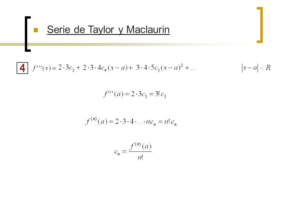 Teorema: Si f tiene una representación (desarrollo) en forma de serie de potencias en a, esto es, si Los coeficientes están expresados por la fórmula