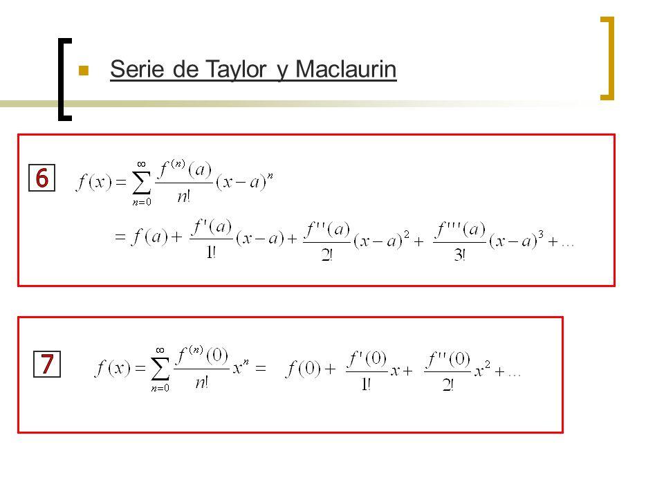 EJEMPLO 1 – Determina la serie de Maclaurin de la función f(x) = e x y su radio de convergencia SOLUCIÓN – Si f(x) = e x, de modo que para toda n.