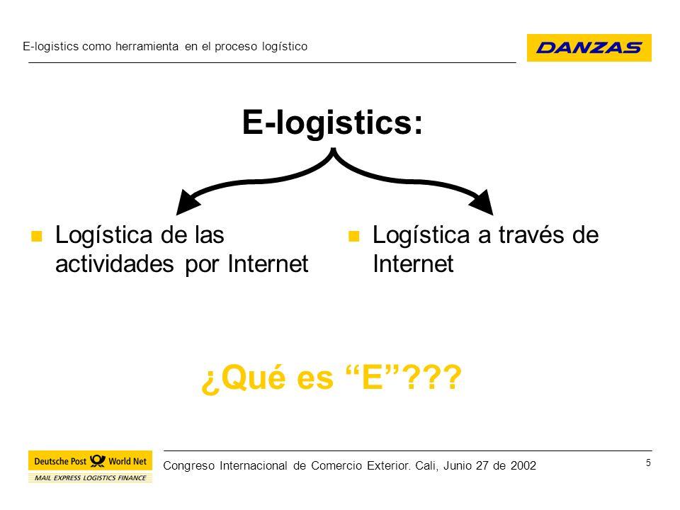 E-logistics como herramienta en el proceso logístico 26 Congreso Internacional de Comercio Exterior.