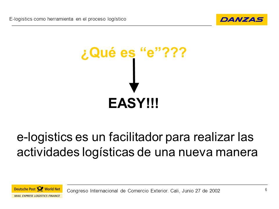 E-logistics como herramienta en el proceso logístico 27 Congreso Internacional de Comercio Exterior.
