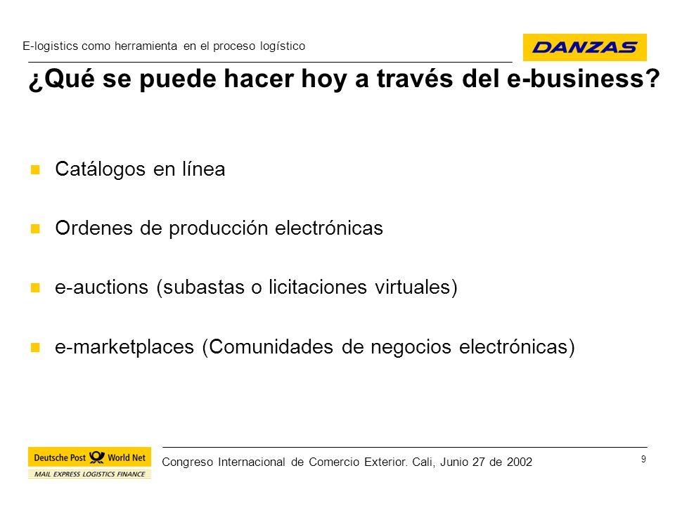 E-logistics como herramienta en el proceso logístico 20 Congreso Internacional de Comercio Exterior.