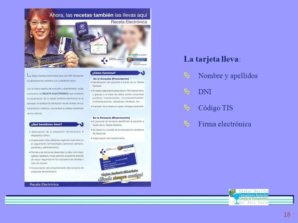 18 La tarjeta lleva : Nombre y apellidos DNI Código TIS Firma electrónica