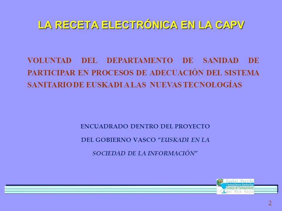 2 LA RECETA ELECTRÓNICA EN LA CAPV VOLUNTAD DEL DEPARTAMENTO DE SANIDAD DE PARTICIPAR EN PROCESOS DE ADECUACIÓN DEL SISTEMA SANITARIO DE EUSKADI A LAS NUEVAS TECNOLOGÍAS ENCUADRADO DENTRO DEL PROYECTO DEL GOBIERNO VASCO EUSKADI EN LA SOCIEDAD DE LA INFORMACIÓN