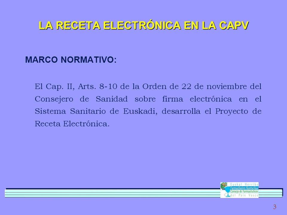 3 LA RECETA ELECTRÓNICA EN LA CAPV MARCO NORMATIVO: El Cap.