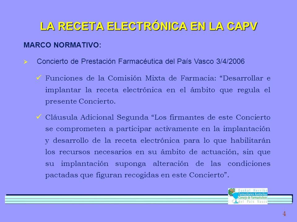 4 LA RECETA ELECTRÓNICA EN LA CAPV MARCO NORMATIVO: Funciones de la Comisión Mixta de Farmacia: Desarrollar e implantar la receta electrónica en el ámbito que regula el presente Concierto.