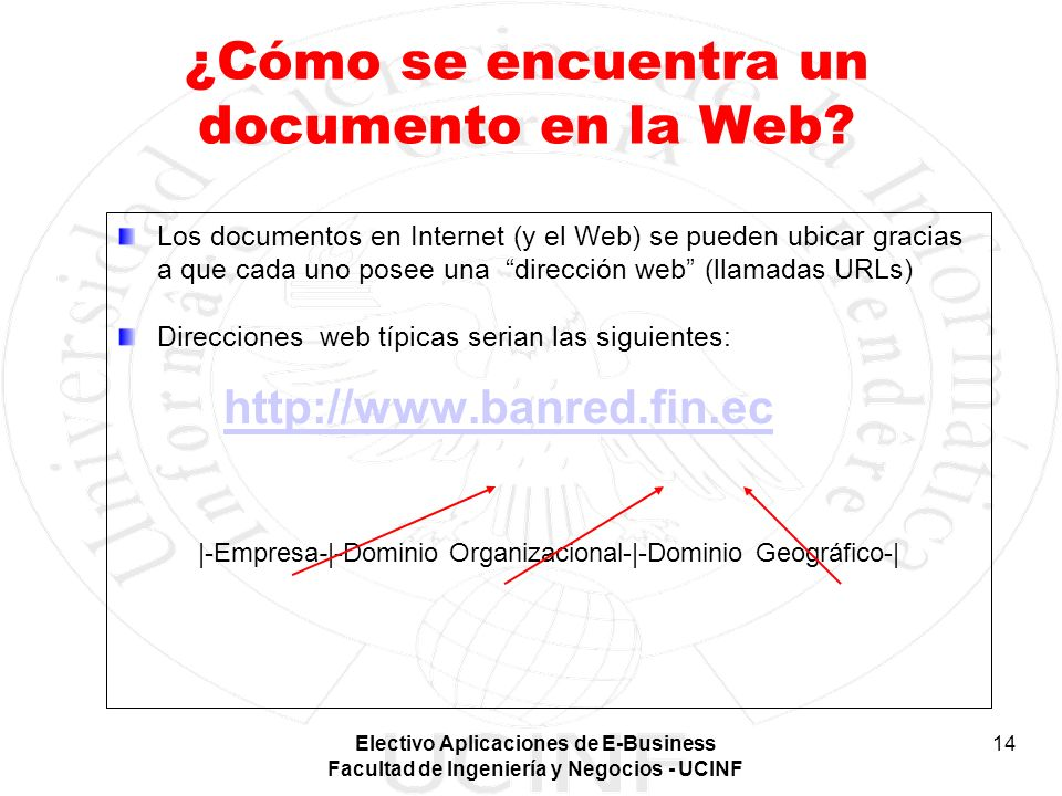 Electivo Aplicaciones de E-Business Facultad de Ingeniería y Negocios - UCINF 14 ¿Cómo se encuentra un documento en la Web? Los documentos en Internet