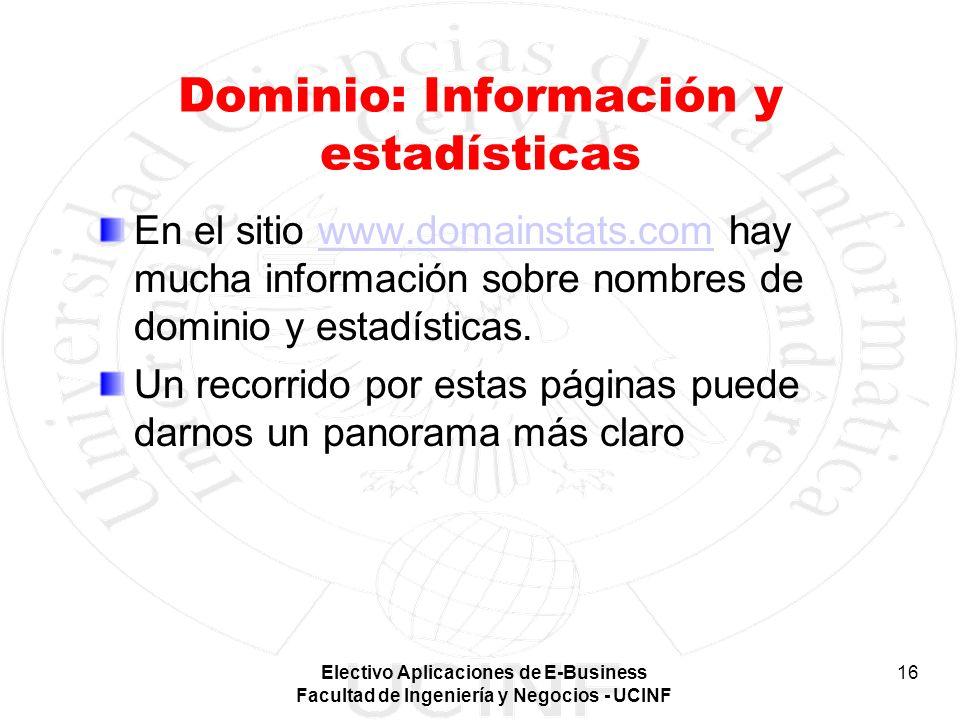 Electivo Aplicaciones de E-Business Facultad de Ingeniería y Negocios - UCINF 16 Dominio: Información y estadísticas En el sitio www.domainstats.com h