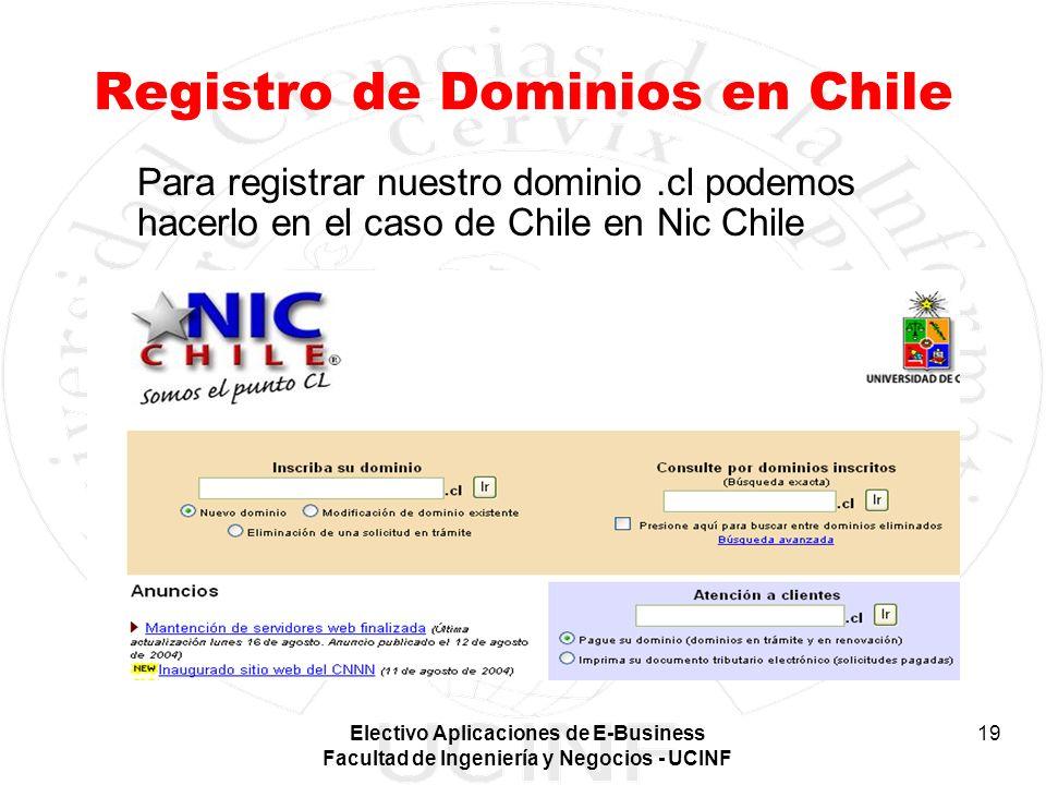 Electivo Aplicaciones de E-Business Facultad de Ingeniería y Negocios - UCINF 19 Registro de Dominios en Chile Para registrar nuestro dominio.cl podem