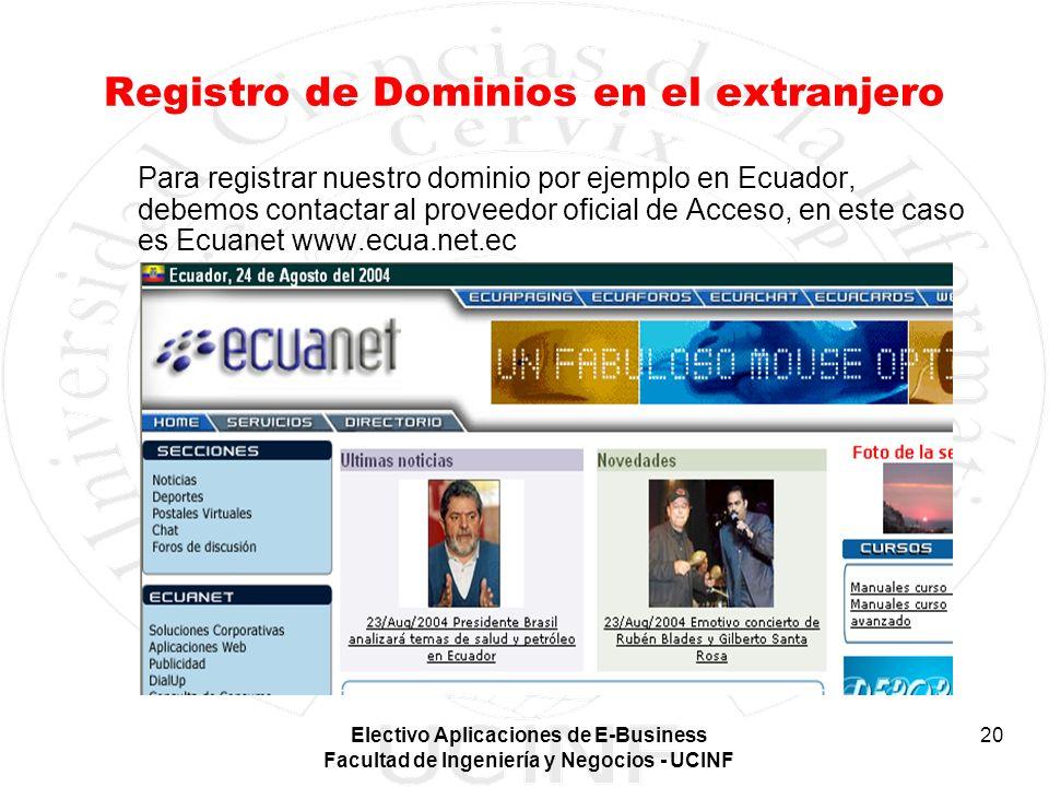 Electivo Aplicaciones de E-Business Facultad de Ingeniería y Negocios - UCINF 20 Registro de Dominios en el extranjero Para registrar nuestro dominio