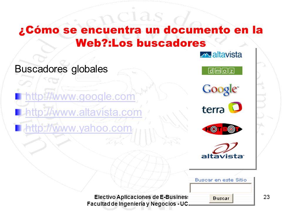 Electivo Aplicaciones de E-Business Facultad de Ingeniería y Negocios - UCINF 23 ¿Cómo se encuentra un documento en la Web?:Los buscadores Buscadores
