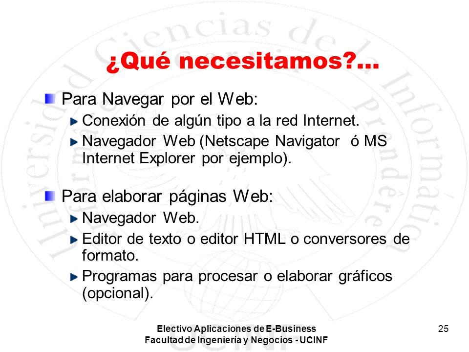 Electivo Aplicaciones de E-Business Facultad de Ingeniería y Negocios - UCINF 25 ¿Qué necesitamos?... Para Navegar por el Web: Conexión de algún tipo