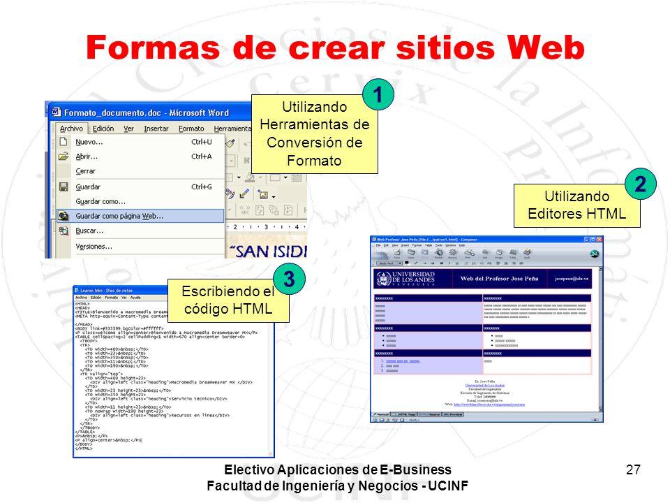 Electivo Aplicaciones de E-Business Facultad de Ingeniería y Negocios - UCINF 27 Formas de crear sitios Web Escribiendo el código HTML 3 Utilizando He